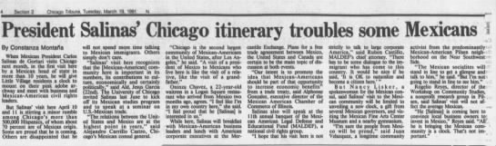 Newspaper clip from the Chicago Tribune covering President Salinas' visit to Chicago.