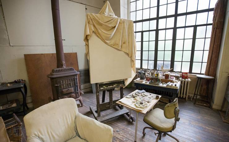 Benton's studio as it appears today for museum visitors