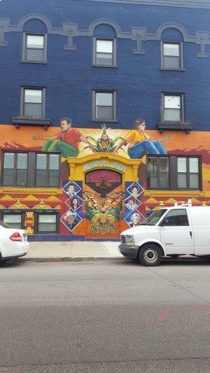 Repainted in 2017, a new mural modeled after the original now covers the front of what used to be Casa Aztlan (Credits: Elena Andrews, 2019)