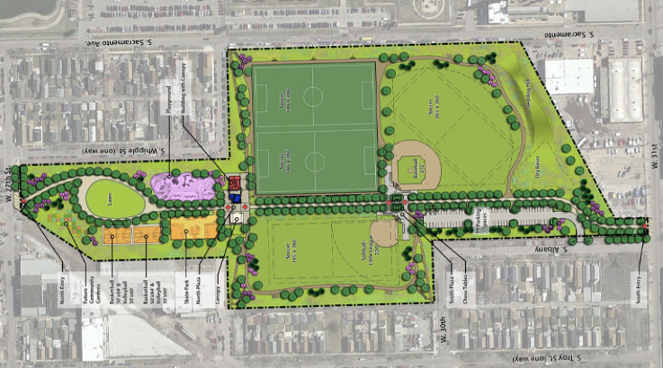 This diagram is a map of the plans for La Villita Park. It includes fields for healthy competition in sports as well as sitting areas for families and a playground. Such a comprehensive design shows the real need for basic green spaces.