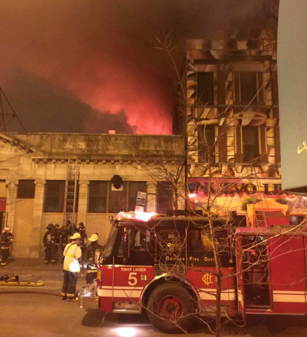 Nuevo Leon restaurant in Pilsen was destroyed in an extra-alarm fire Wednesday morning. By Byron Sigcho. December 2, 2015.