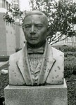 The first bust of Benito Juarez that was in the plaza, prior to the current statue. This bust is now located at the National Museum of Mexican Art.