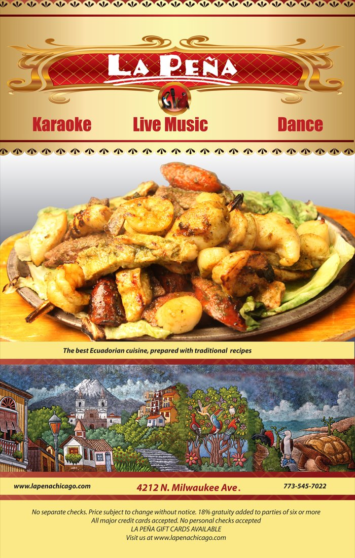 Flyer from the restaurant advertising their food and live music events