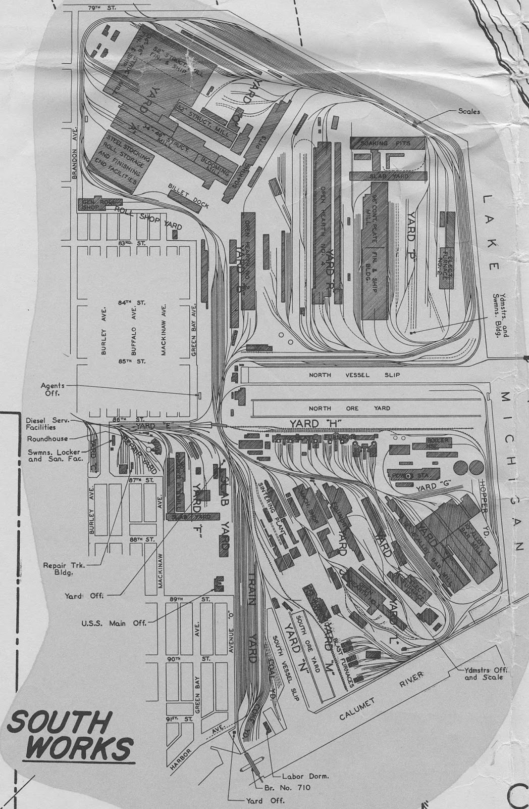 A map of the South Works mill at its peak. Clearly, the size of the mill held plenty of workers, workers that would develop and shape the surrounding South Chicago community. Courtesy of Kevin Piper.