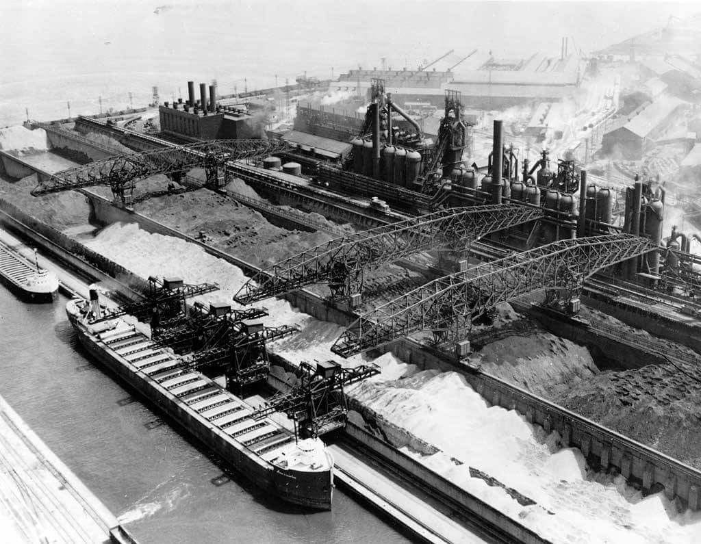 "Aerial photo of blast furnaces at the South Works mill. Mexican workers were often delegated to difficult work at such furnaces as the ""lowest men on the totem pole."" Courtesy of Dennis DeBruler."