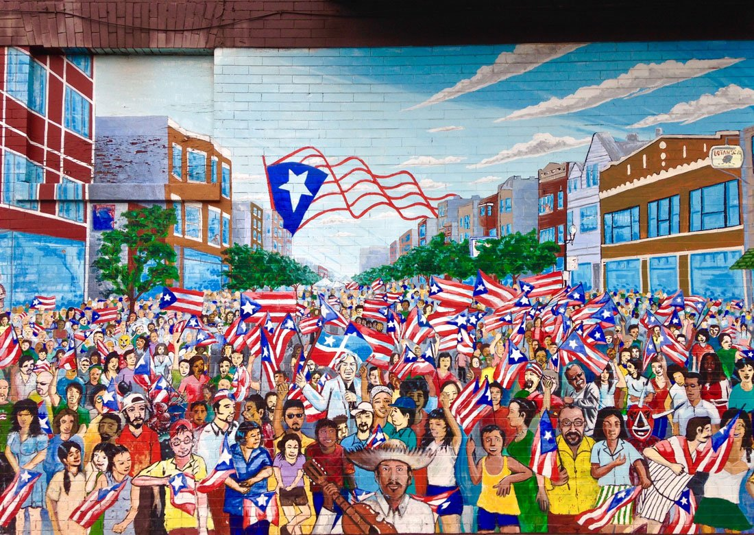 "Mural ""Sea of Flags"" on Division Street by Gamaliel Ramirez"