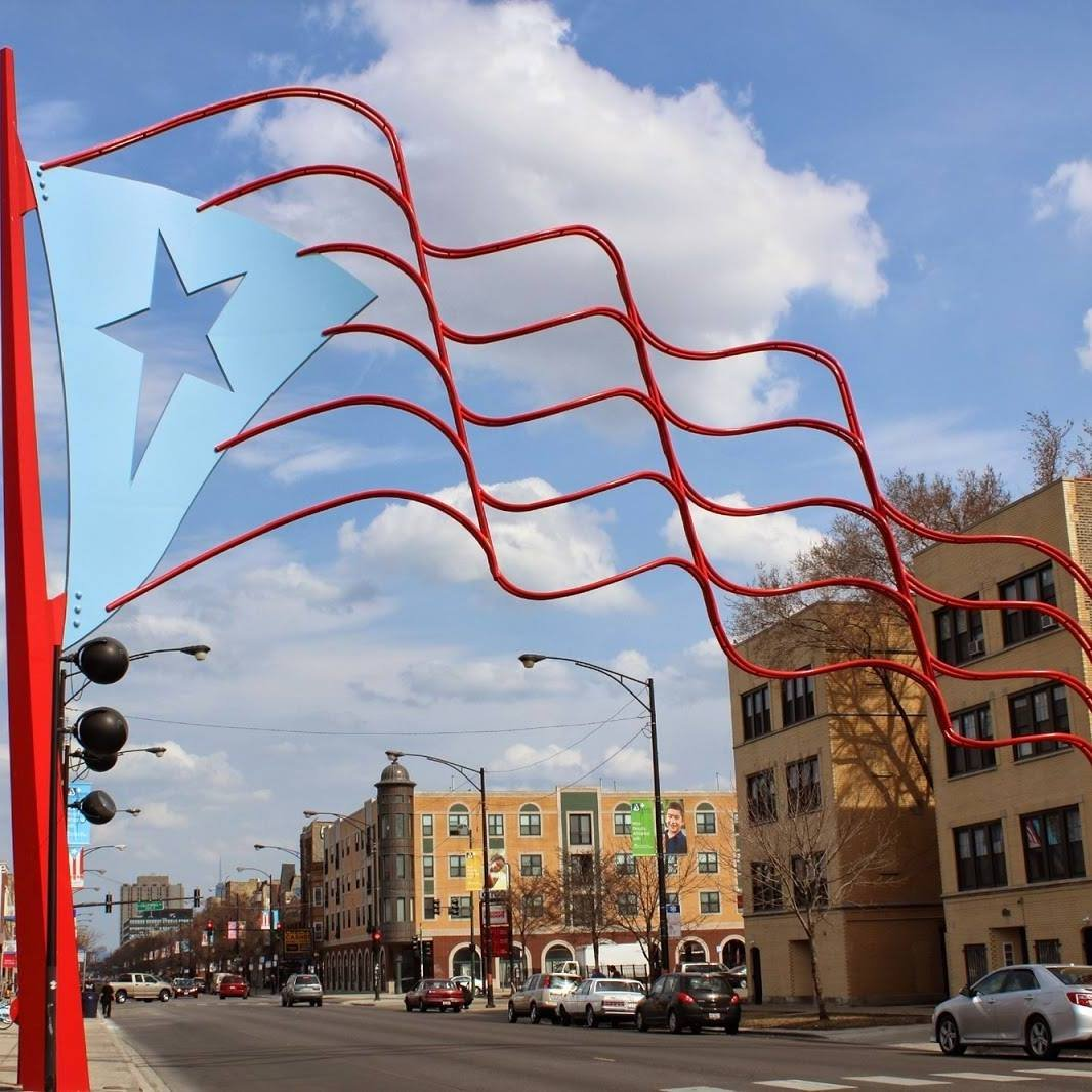 Photograph of the Puerto Rican Flag Arch by Humboldt Park Forever