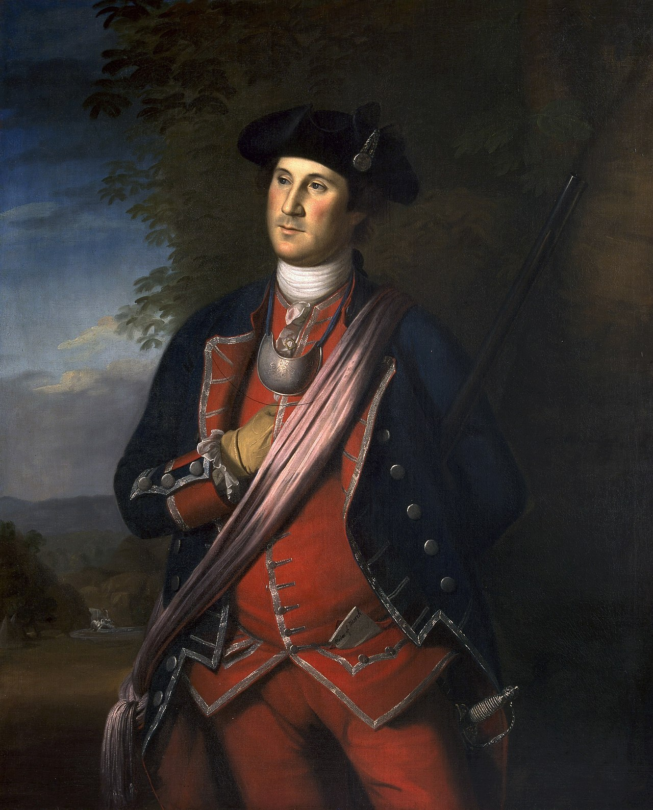A magnificent portrait of George Washington, the leader of this battle, by Charles Wilson Peale