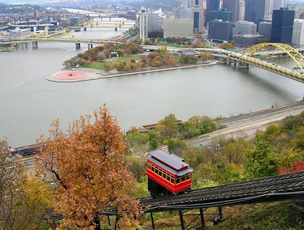 The view of Point State Park that can be seen from the top of the Duquesne Incline.