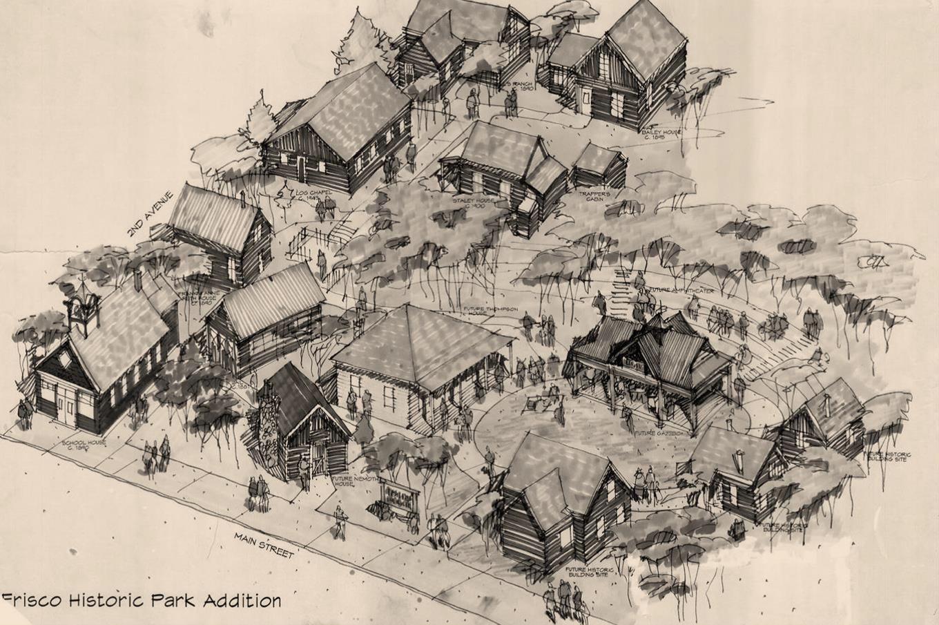 This concept drawing dates to the mid-1980s, as the park was just beginning to develop. One of the biggest differences is the grass covered, open area surrounding the gazebo. Today the Historic Park hosts ten historic cabins and buildings along with an outhouse, a spring house, and the open-air gazebo.