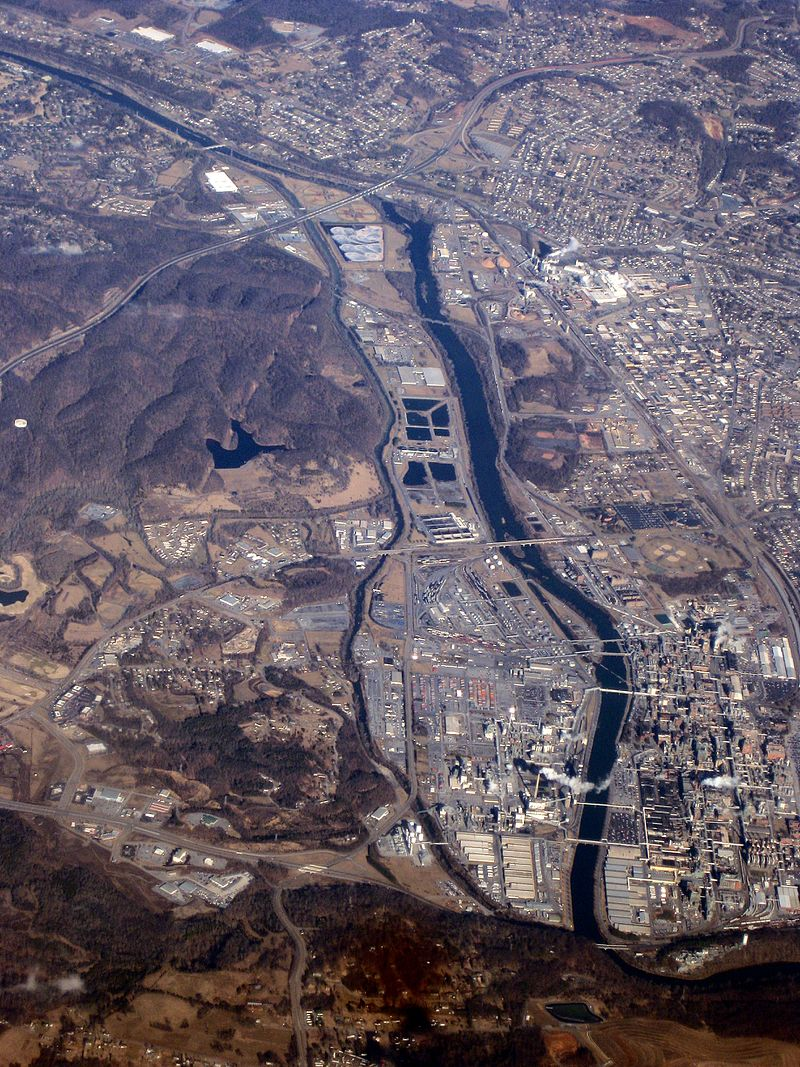 An aerial view of Long Island of the Holston River, Tennessee's first National Historic Landmark