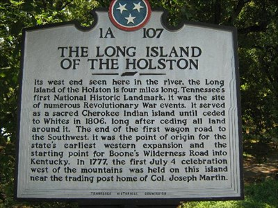 This historical marker shares a concise history of the Long Island of the Holston