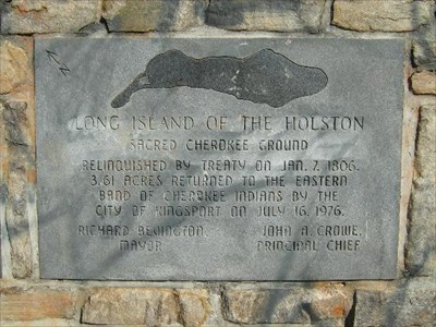 This interpretive plaque also shares information about the Long Island of the Holston River