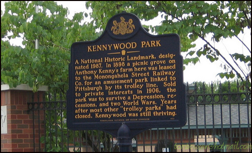 Photo of the official plaque naming Kennywood as a National Historic Landmark.
