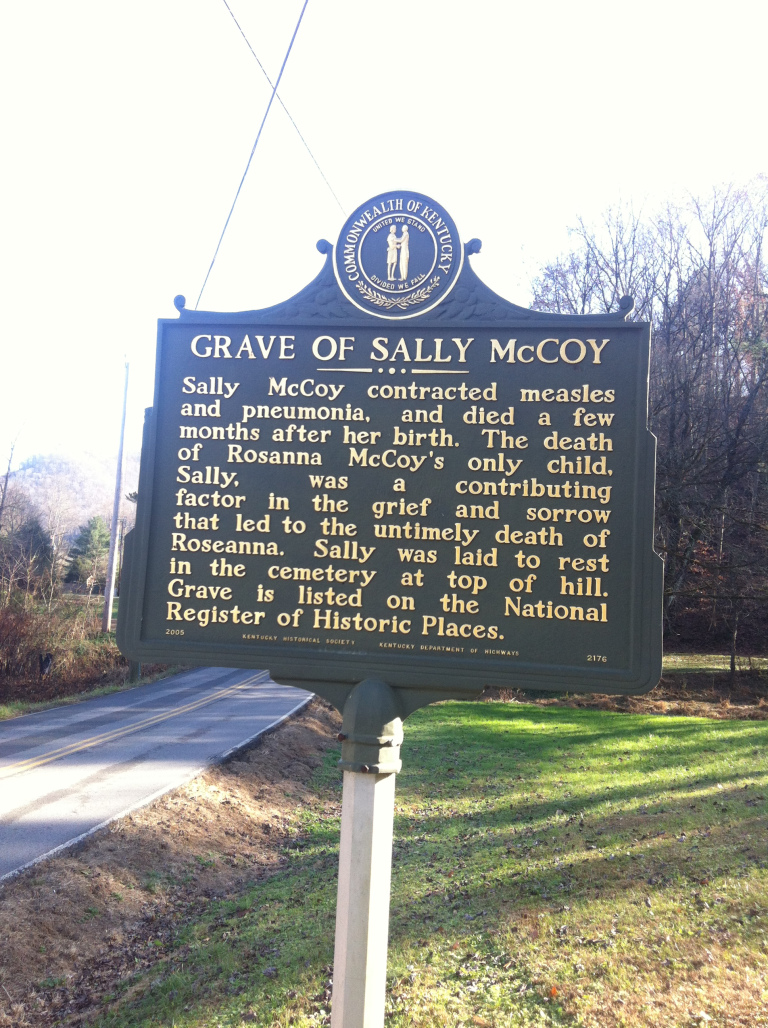 Historical marker for Sally McCoy's grave