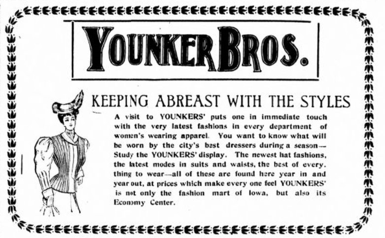 1907 Des Moines newspaper ad for Younker Brothers store (Iowa State Bystander 5-24-1907, p. 9)
