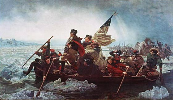The famous picture of Washington crossing the Delaware