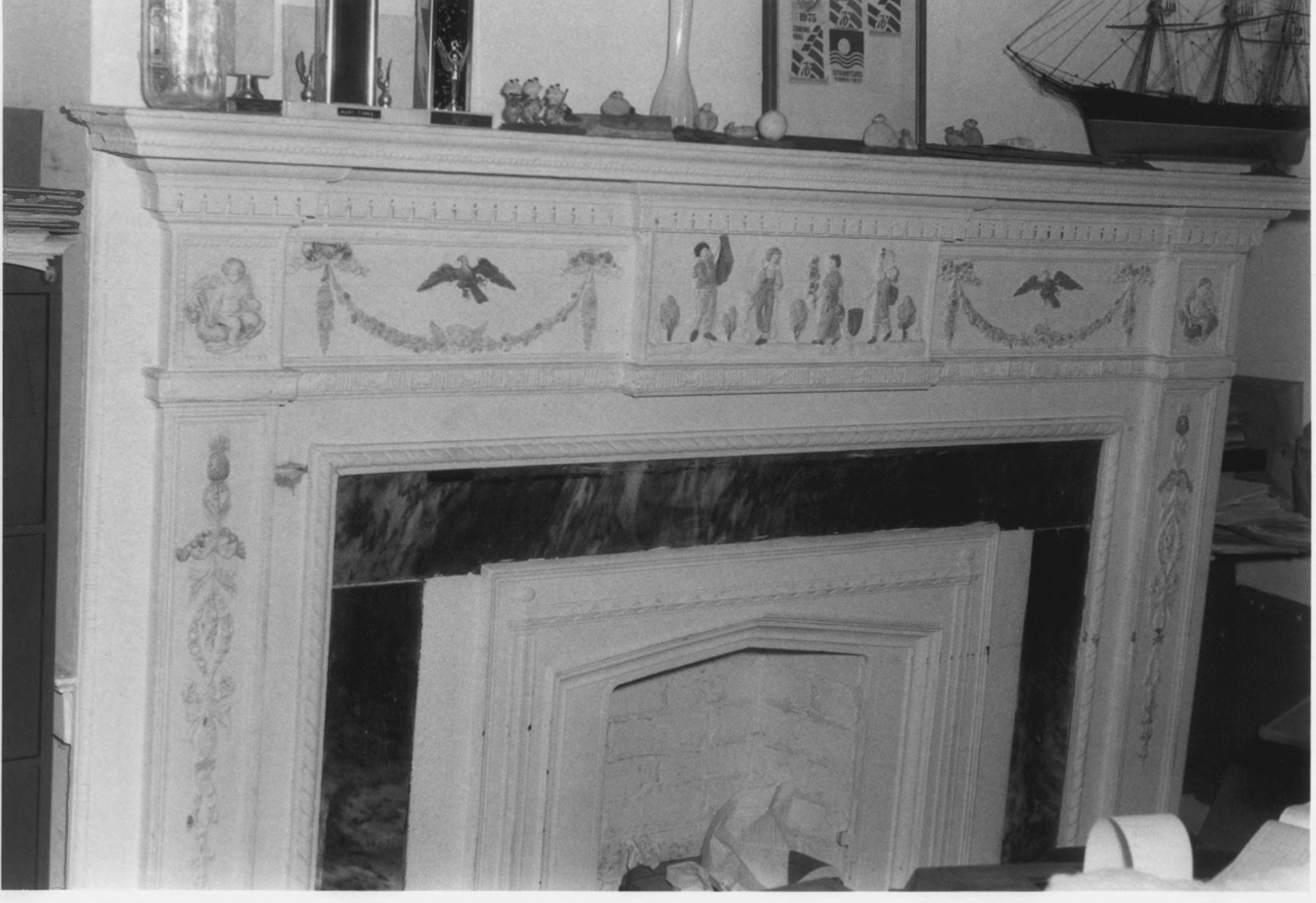 Ornate Fireplace Details Inside the Cove House in 1979 by D. Ransom, Part of the NPS NRHP Photographic Collection on the Cove House