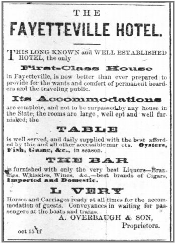 An advertisement for The Fayetteville Hotel from 7 January 1875.