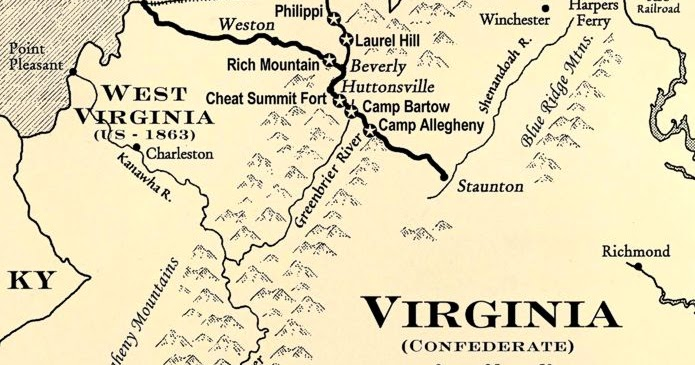 Partial Virginia map showing Cheat Summit Fort, Rich Mountain, Camps, and towns