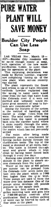 """Pure Water Plant Will Save Money; Boulder City People Can Use Less Soap"", Nevada State Journal (Reno), March 14, 1932."