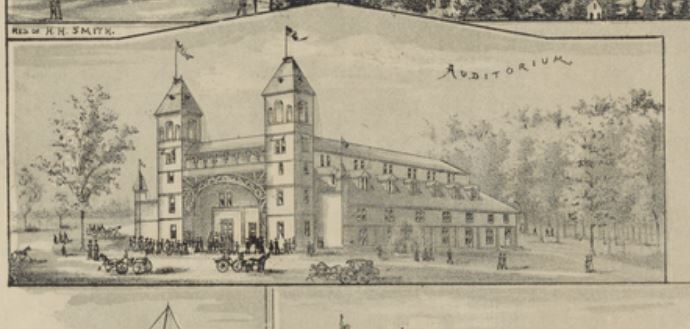 Auditorium building exterior, Prohibition Park, on historic map ca. 1890's