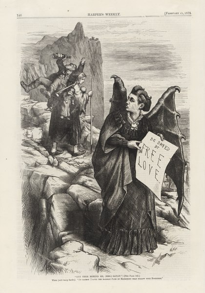 Political Cartoon of Victoria Woodhull by Thomas Nast - Public Domain Image