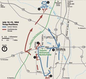 A map of the movements during the Battle of Tupelo