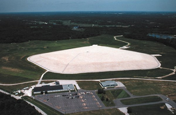 This aerial view shows the mound and the interpretive center below it.