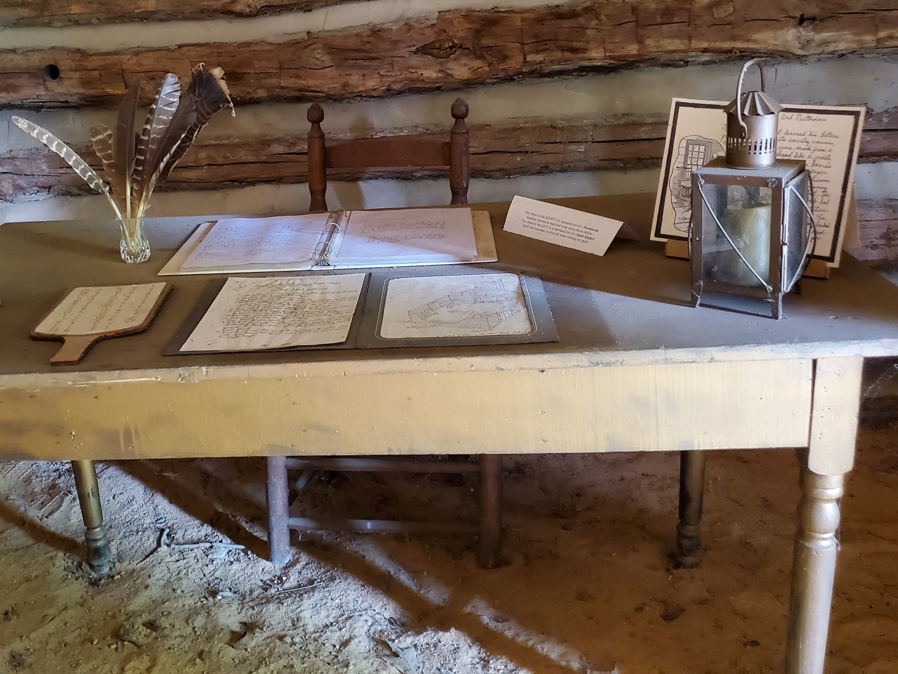 This was the desk of Schoolmaster William Whitefield who was the teacher at the Van Hook Subscription School from 1810-1857.