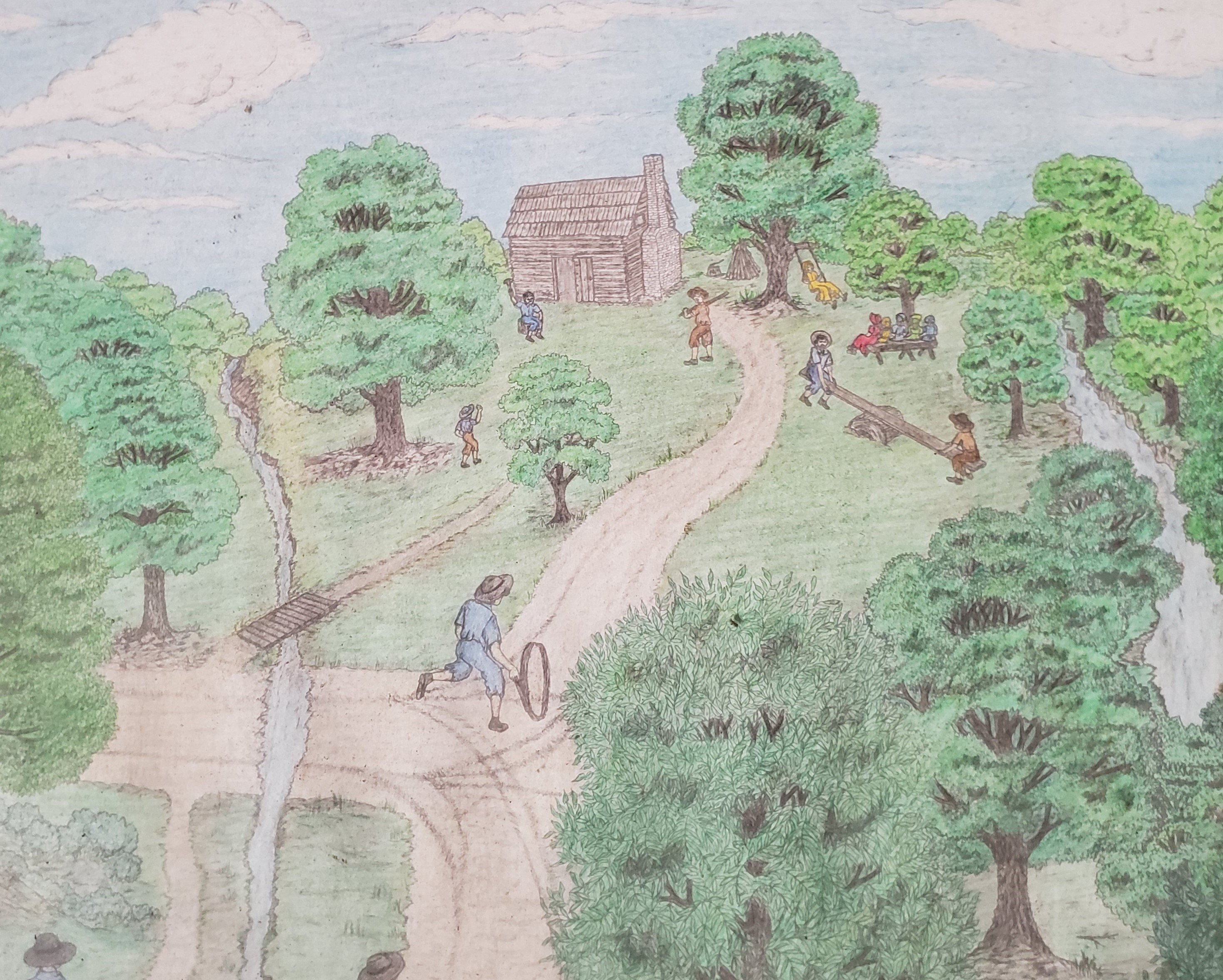 This is a drawing of what the Van Hook Subscription School may have looked like in the 1800s at its original location on Paynes Tavern Road in the Flat River area of Person County, North Carolina.