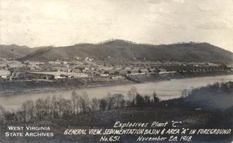 A view from across the Kanawha River at the 1918 Explosives Plant