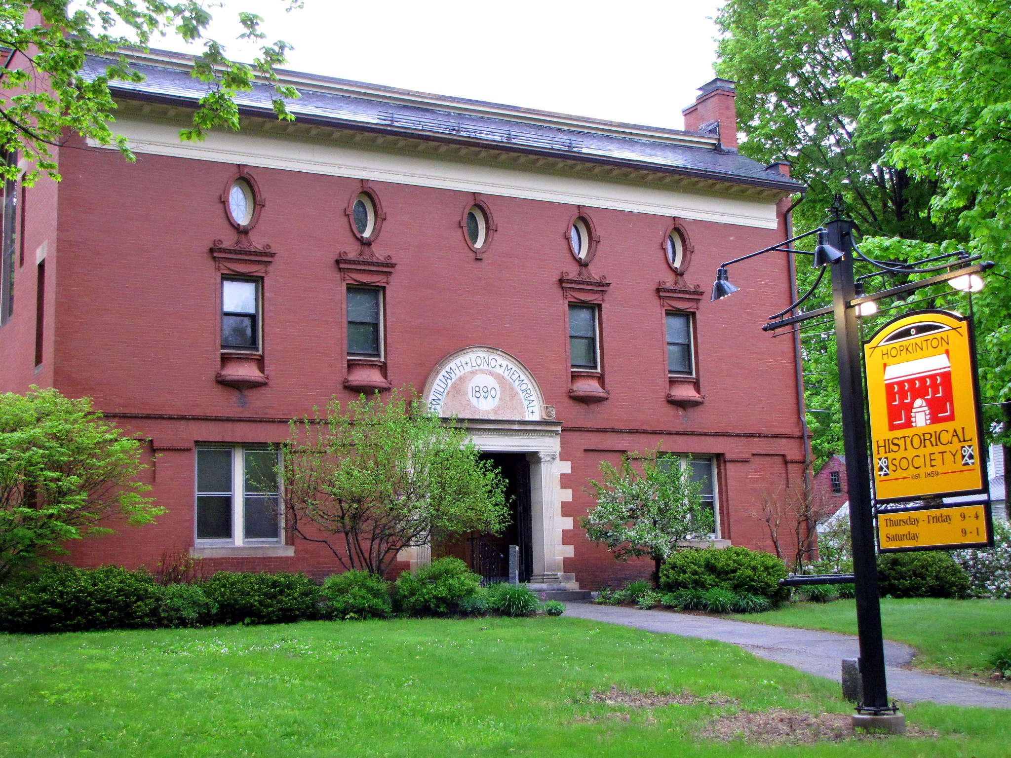 The Long Memorial Building, built in 1890 for the Hopkinton Historical Society, was named to the National Register of Historic Places in 1977.