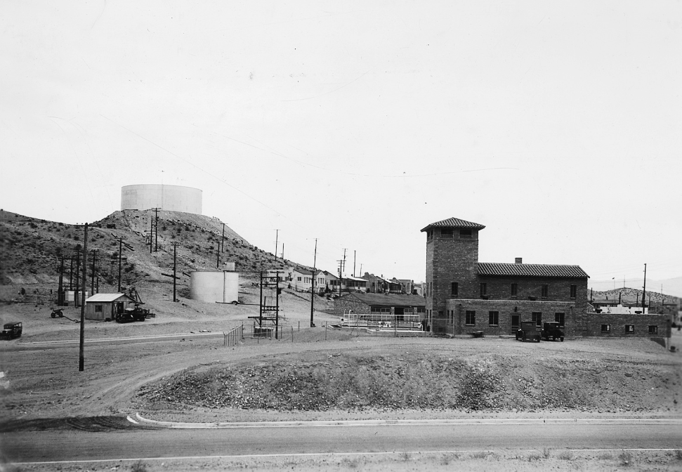 View from the west of the two-million-gallon water tank on Water Tank Hill and the nearby water filtration plant. (National Archives and Records Administration. Major units of Boulder City water supply. July 10, 1932)
