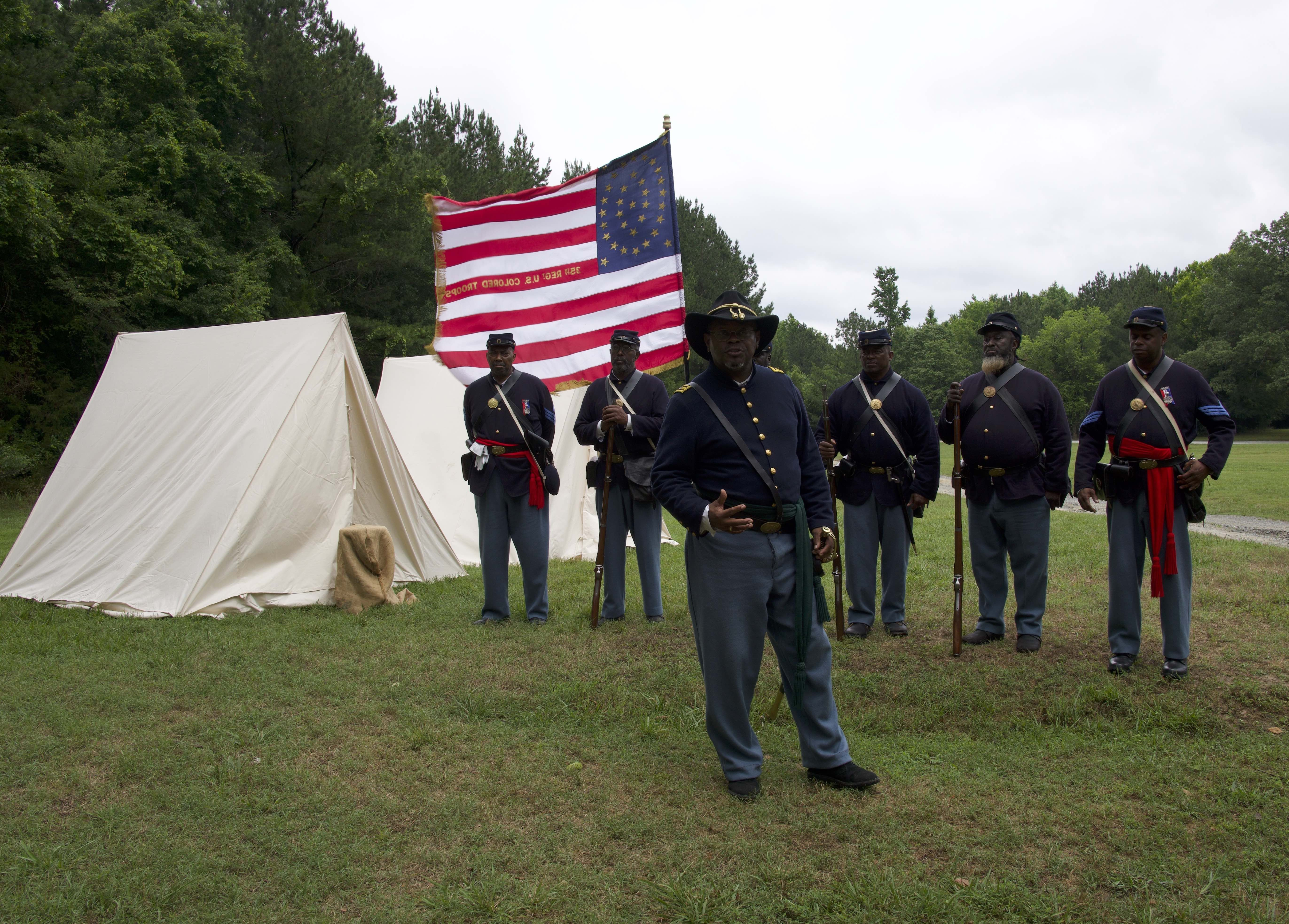Juneteenth Commemoration: Reenactors demonstrating life for the 35th Regiment U.S. Colored Troops
