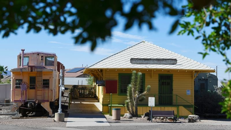 The original train depot for Boulder City is at the Clark County Museum in Henderson, Nevada. (Photograph, Los Angeles Times, Sam Morris / Las Vegas News Bureau. July 5, 2018)