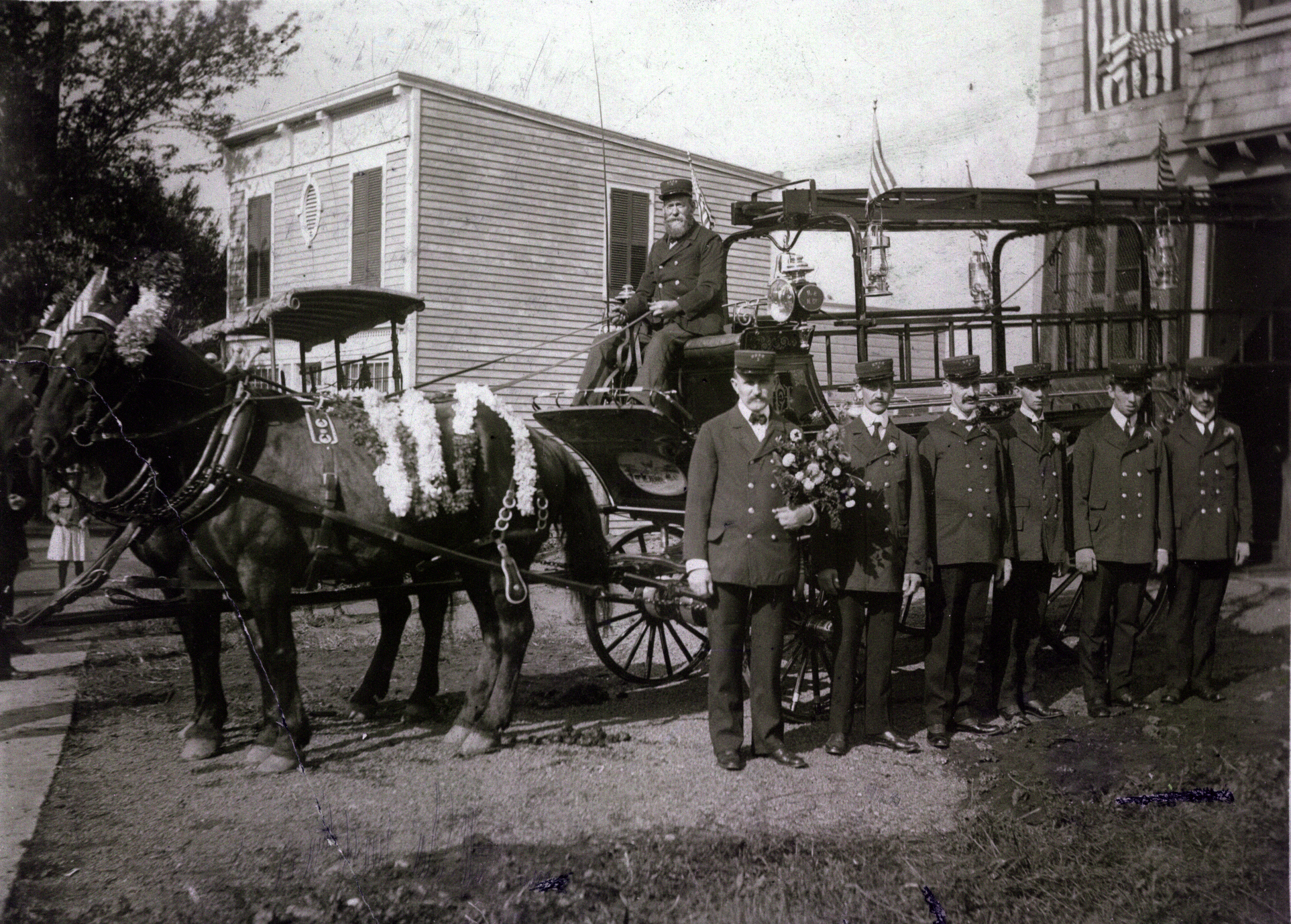 Undated photo in front of the firehouse