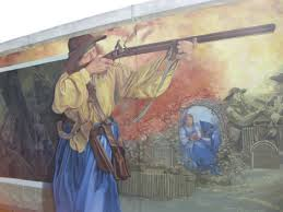 Mural depicting Mad Anne Bailey - Located on Point Pleasant, WV Floodwall