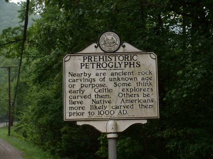 Marker for Luther Elkins Petroglyph along Clear Fork Road (W.Va. Route 971), in Wyoming County