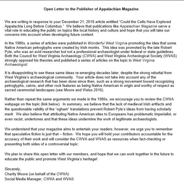 Council for West Virginia Archaeology 2019 open letter to editors of Appalachian Magazine