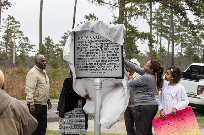 The unveiling of Callen's historical marker.
