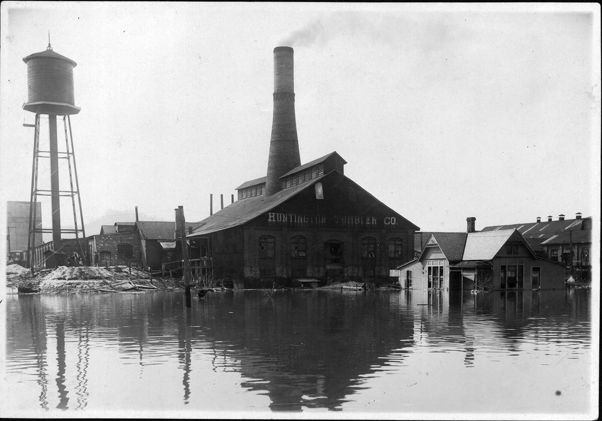 Huntington Tumbler during the Flood of 1937. The factory, of which nothing remains, stood on Fifteenth Street between Jefferson and Madison Avenues. Image courtesy of Marshall University Special Collections.