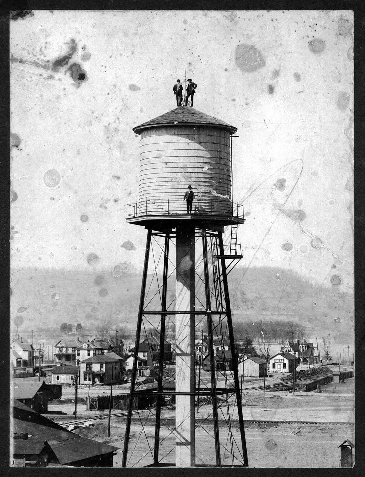 Huntington Tumbler's water tower, seen here in 1905, was the tallest in Central City, making it a local landmark for years. Image courtesy of Marshall University Special Collections.