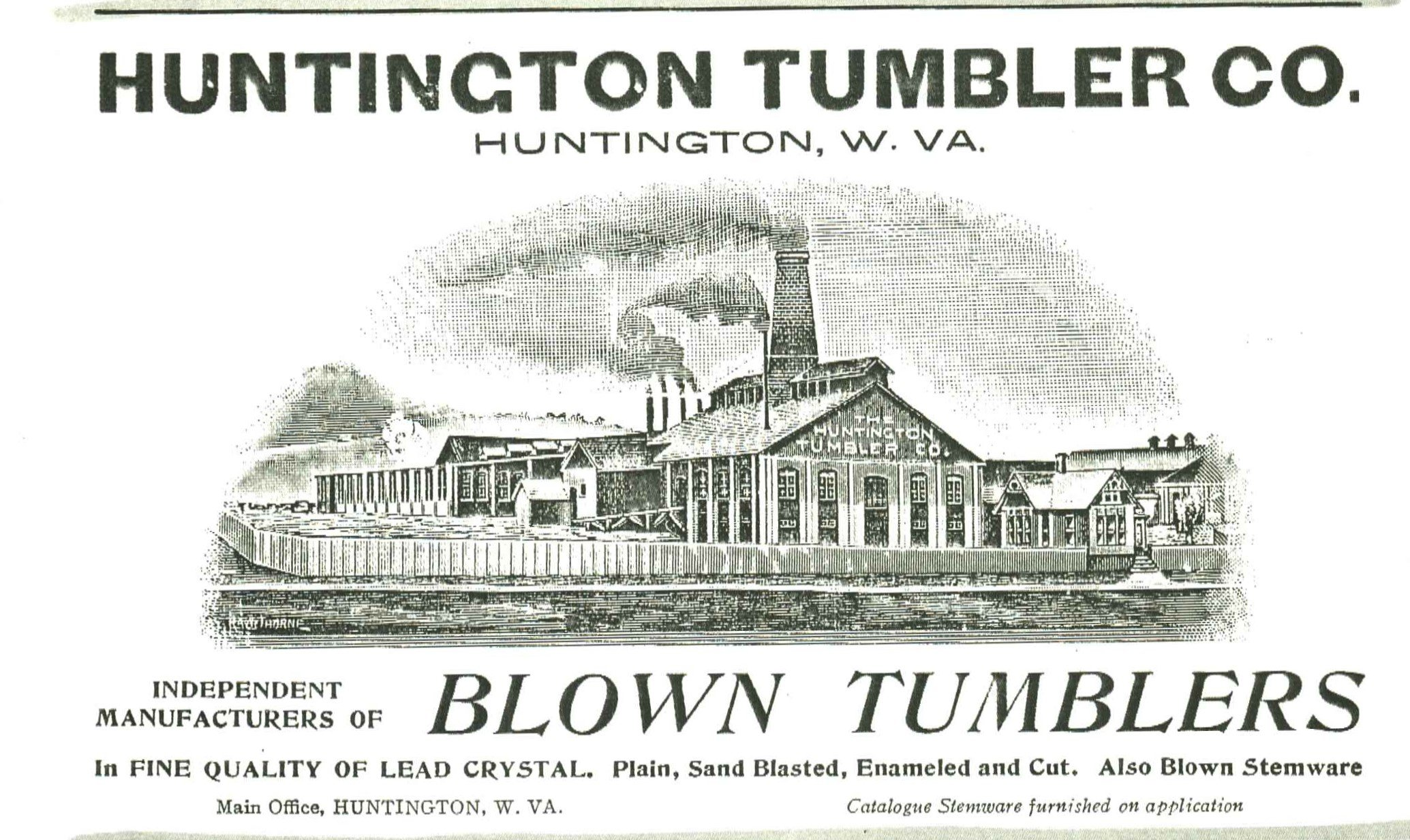 Advertisement for the Huntington Tumbler Company from the early 1900s. Image courtesy of the West Huntington Public Library.