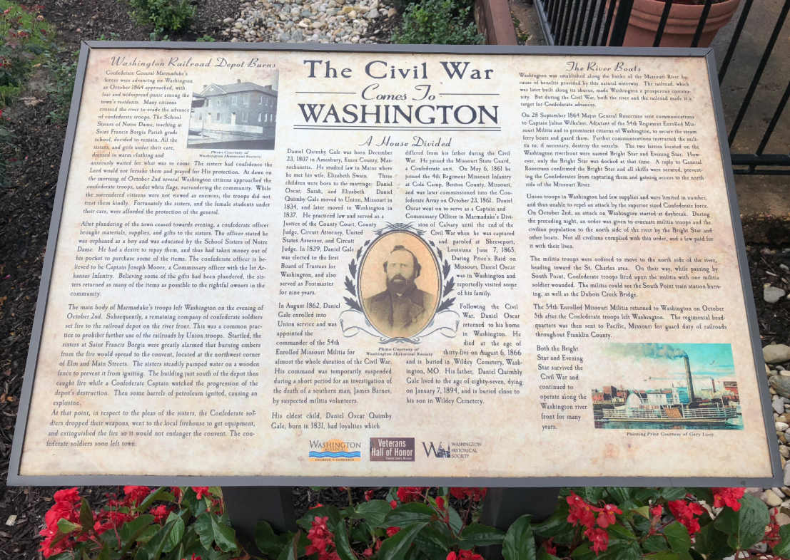 This historical marker describes the raid on Washington and the effect it had on the town. Photo: The Historical Marker Database