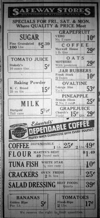 1935 Safeway advertisement