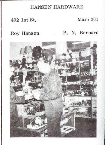 1956 Hansen Hardware advertisement