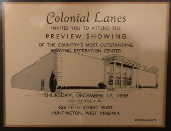 Ad for opening of Colonial Lanes, 1959