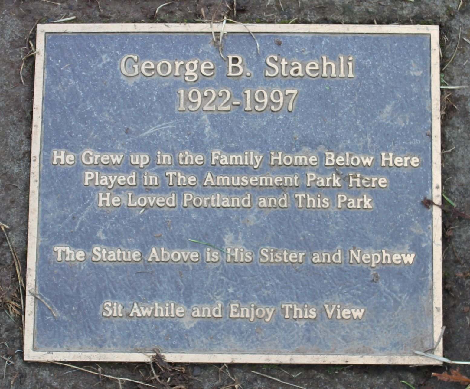 George B. Staehli plaque placed near fountain. Photo by Cynthia Prescott.