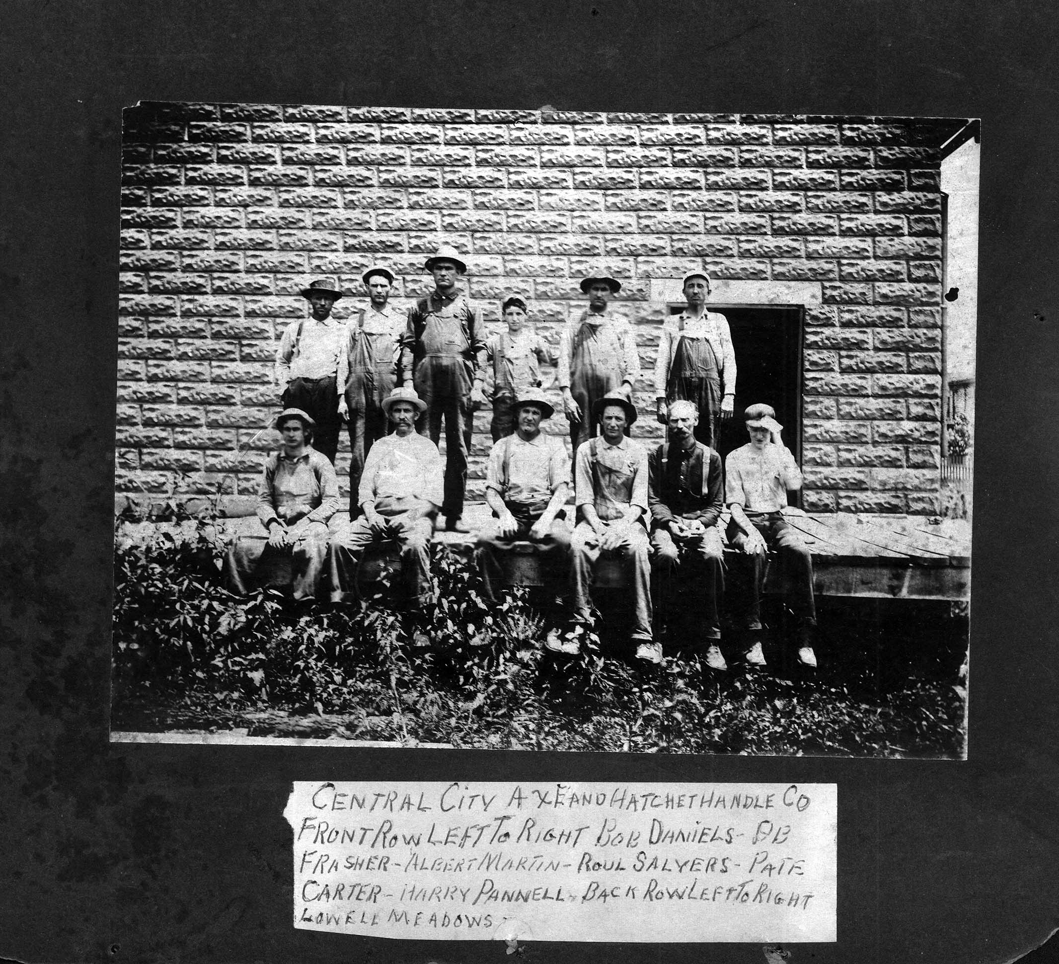 Company employees around 1900. The photograph notably calls it the Central City Axe and Hatchet Handle Co. Image courtesy of Marshall University Special Collections.